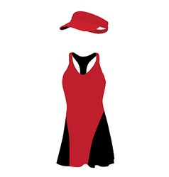 Red and black tennis dress vector