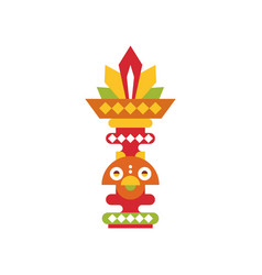 Religious totem pole coloful ethnic tribal symbol vector