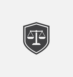 scales of justice icon with shield law firm logo vector image