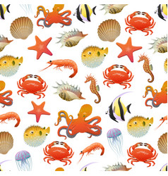 Sea and ocean life seamless pattern vector