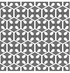seamless floral hexagonal grey and white pattern vector image