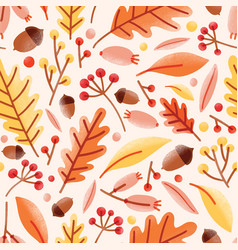 seasonal seamless pattern with acorns fallen oak vector image