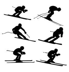 Set alpine skiing athlete vector