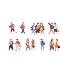 set cute children with backpack or bag going vector image