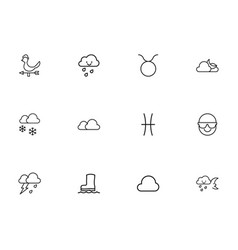 Set of 12 editable climate outline icons includes vector