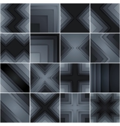 Set of abstract gray and black rectangle shapes vector image
