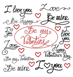 set of hand drawn romantic words vector image