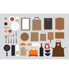 Set of mock up kitchen tool flat design vector