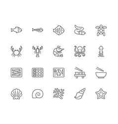 set seafood line icons fishbone fish vector image