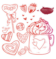 set valentines day hand drawn sweets cookies vector image