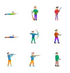 shooting icon set cartoon style vector image