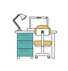 silhouette color sections of desk home with chair vector image