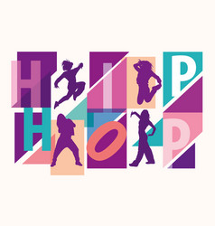 silhouettes girls dancing modern styles vector image