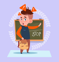 small school boy standing over class board with vector image