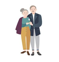 smiling old man standing beside elderly woman vector image