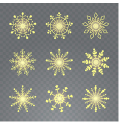 snowflake set 9 yellow snowflakes on vector image