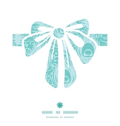 Soft peacock feathers gift bow silhouette pattern vector