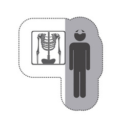 Sticker monochrome pictogram doctor and vector