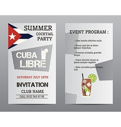 Summer cocktail party flyer layout template with vector