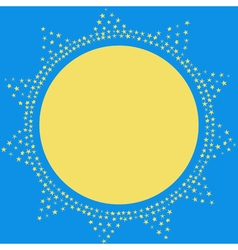Sun on the sky decoration card Sparkling sun vector