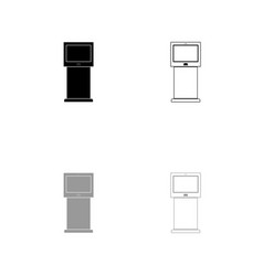 terminal stand with touch screen set icon vector image