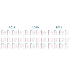 the 2019 2020 2021 calendar template with vertical vector image