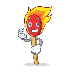thumbs up match stick character cartoon vector image