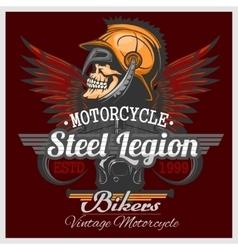 Vintage Biker Skull Emblem vector