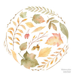 Watercolor card leaves and branches vector