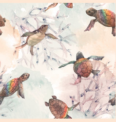 Watercolor rainbow small baby turtles vector