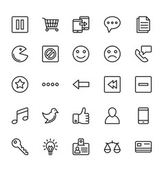 Web and mobile ui line icons 4 vector