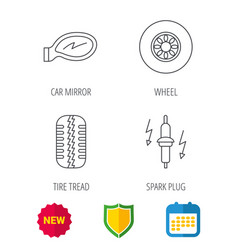Wheel car mirror and spark plug icons vector