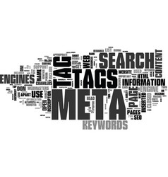 Why meta tags used text word cloud concept vector
