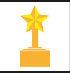 winner trophy award gold star on the stand cartoon vector image