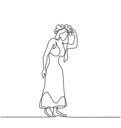 Woman in long dress with flower wreath vector