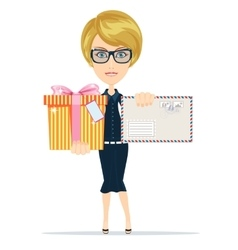 Woman with letter and presents vector image