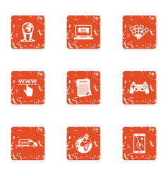 www deal icons set grunge style vector image