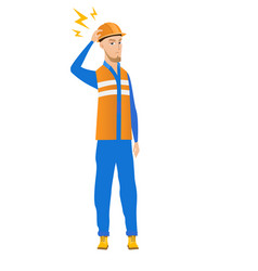 Young caucasian builder with lightning over head vector