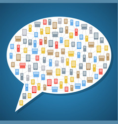bubble icon with phones vector image