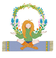 happy hippie girl with flowers bright colored vector image