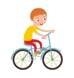 Little happy boy on his sport bike active vector image