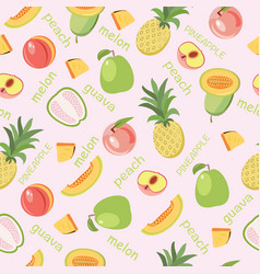 seamless background of fruits peach guava melon vector image vector image