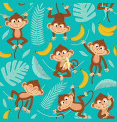 seamless pattern with monkey on blue background vector image vector image