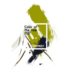 set of green color brush strokes and texture in vector image