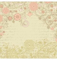 Vintage grungy background with flowers and letter vector image