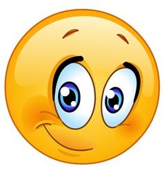 half smile emoticon vector image vector image