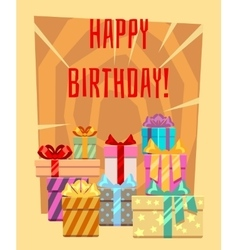 Happy birthday greeting card with a heap of gift vector image vector image
