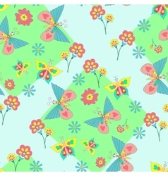 pattern with vivid flowers and butterflies vector image