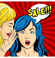 pop art surprised woman face with open mouth and vector image vector image