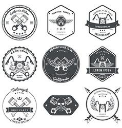 Race bikers garage repair service emblems and vector